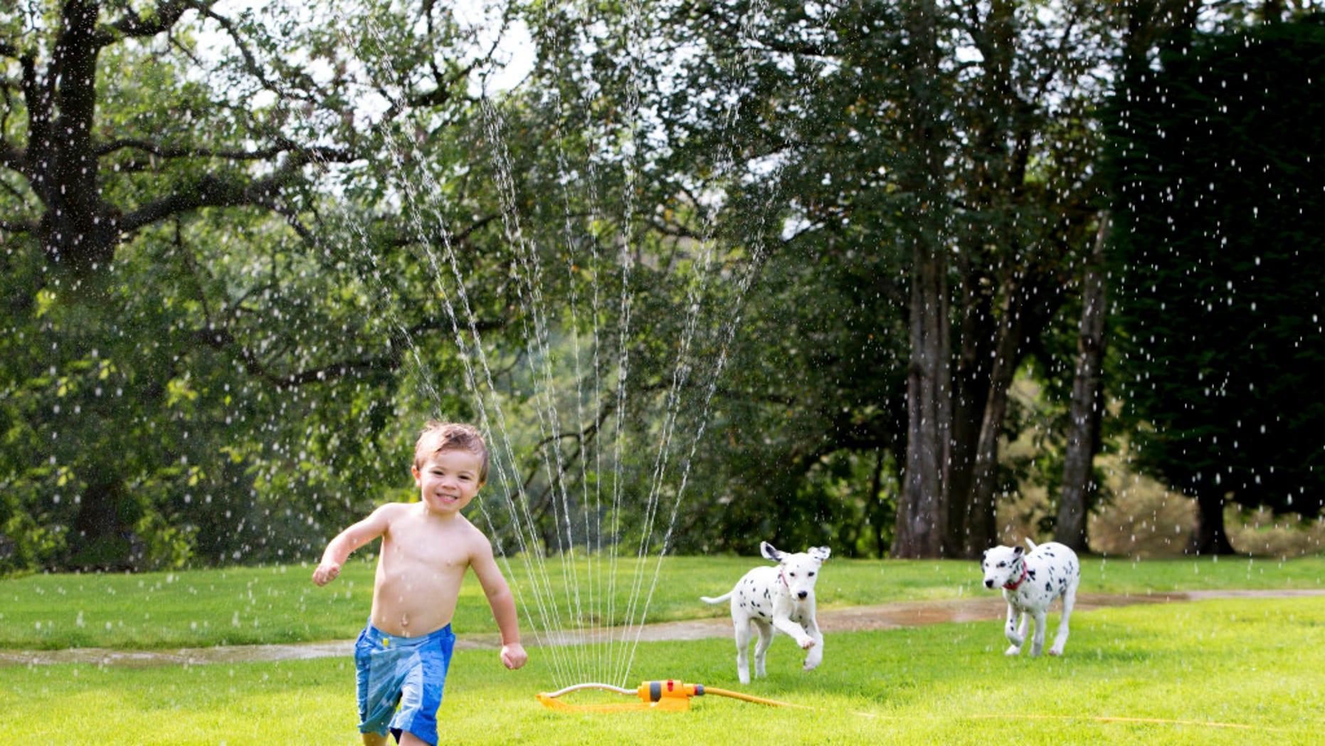 A toddler boy runs across the lawn.