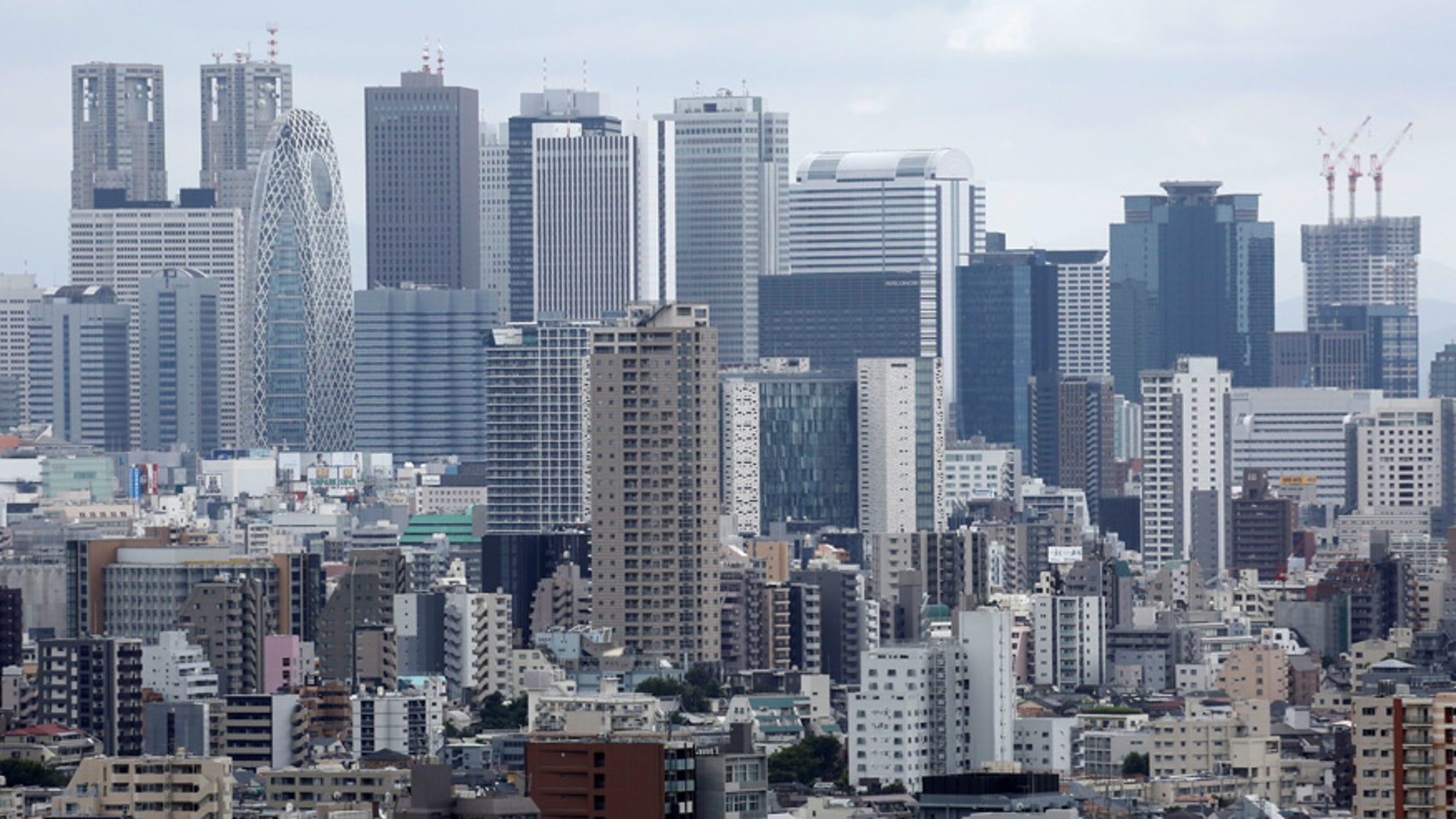 Commercial and residential buildings are pictured in Tokyo, Japan.