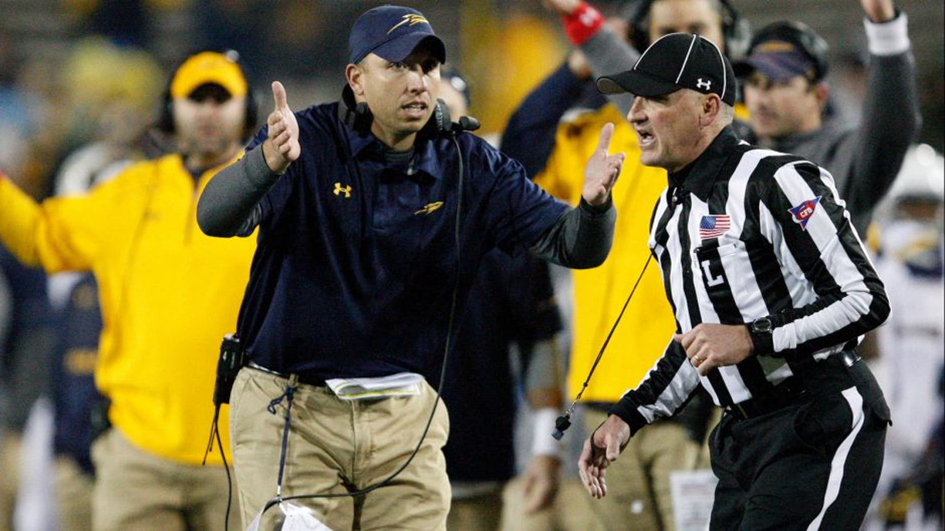 Nov 10, 2015; Mount Pleasant, MI, USA; Toledo Rockets head coach Matt Campbell looks to the ref during the fourth quarter against the Central Michigan Chippewas at Kelly/Shorts Stadium. Rockets win 28-23. Mandatory Credit: Raj Mehta-USA TODAY Sports
