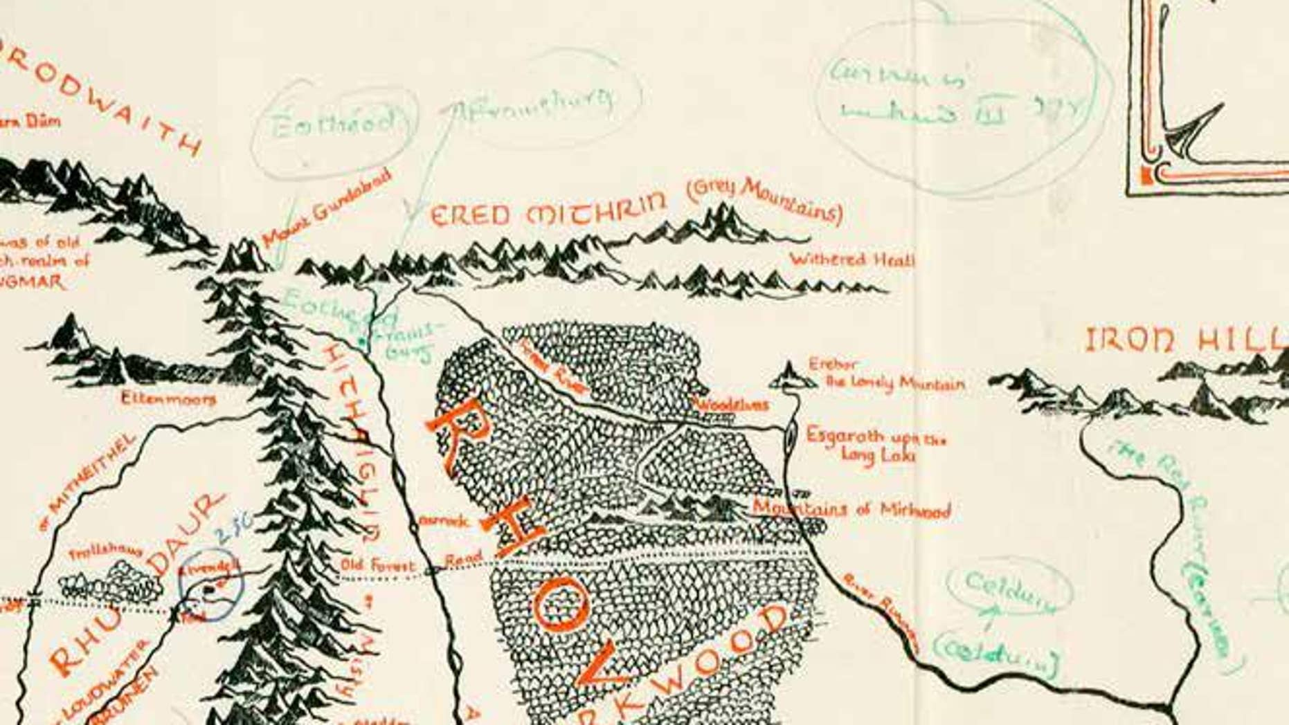 Map of Middle-Earth annotated by JRR Tolkien (Blackwell's Rare Books).