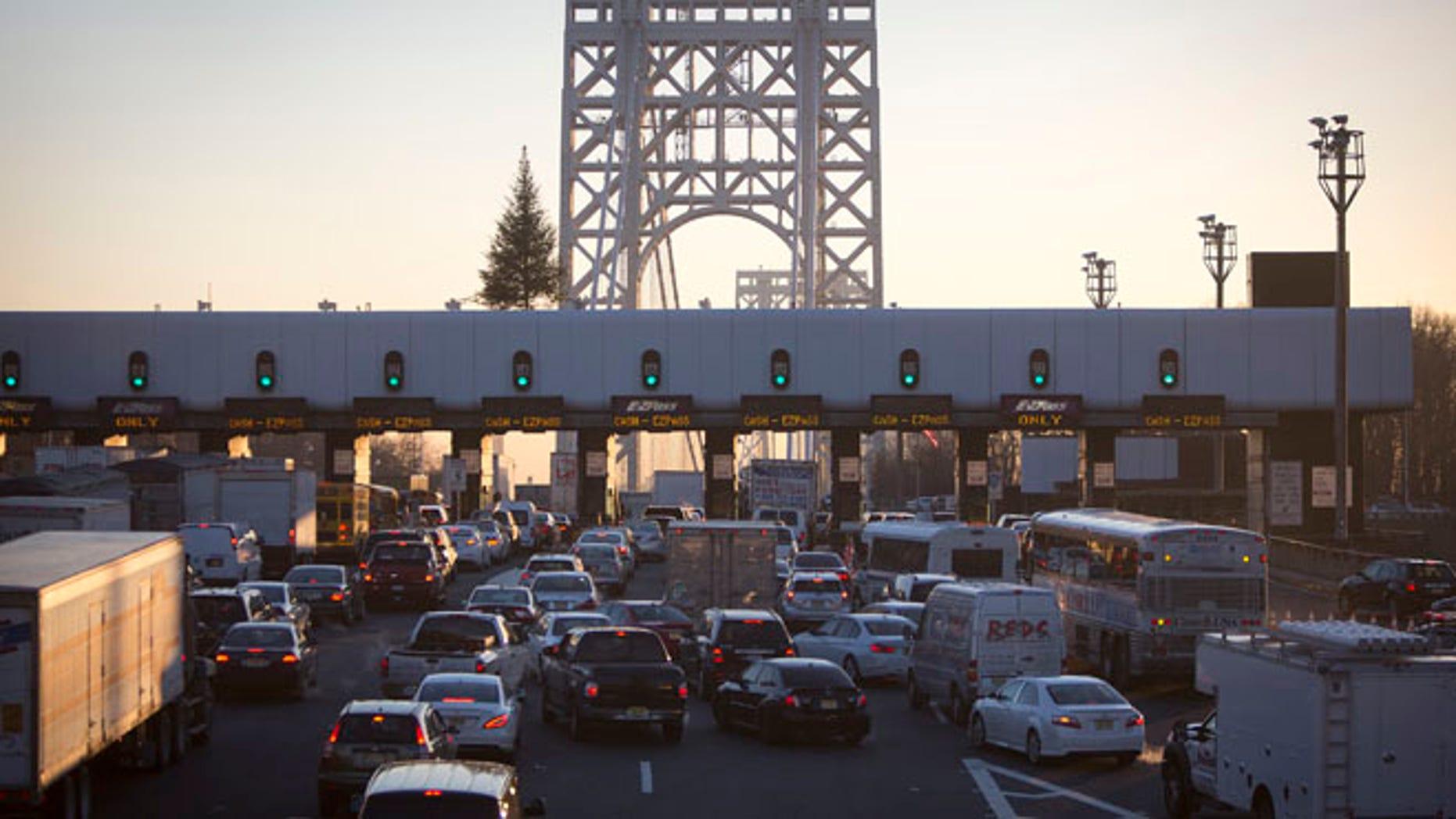 The George Washington Bridge toll booths.