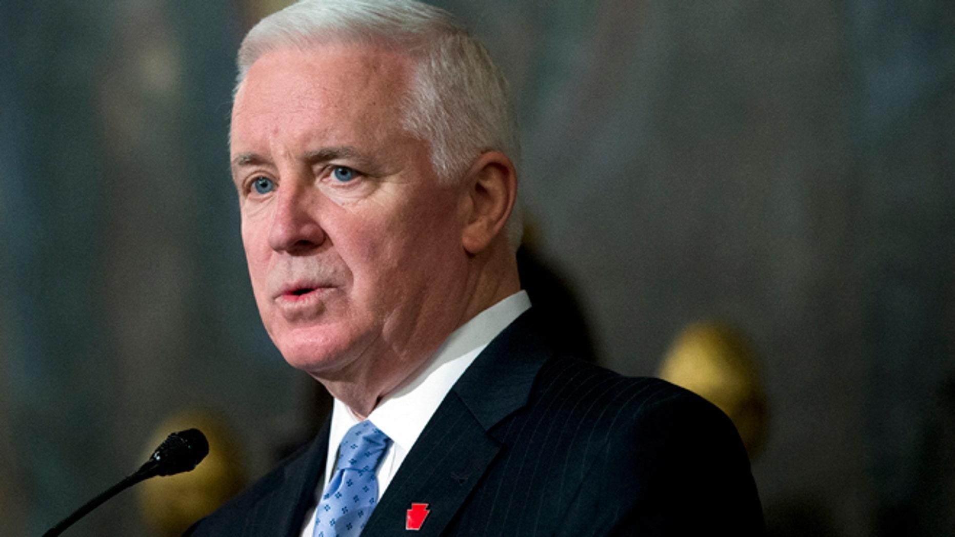 Feb. 4, 2014: Republican Pennsylvania Gov. Tom Corbett speaks in Harrisburg, Pa.