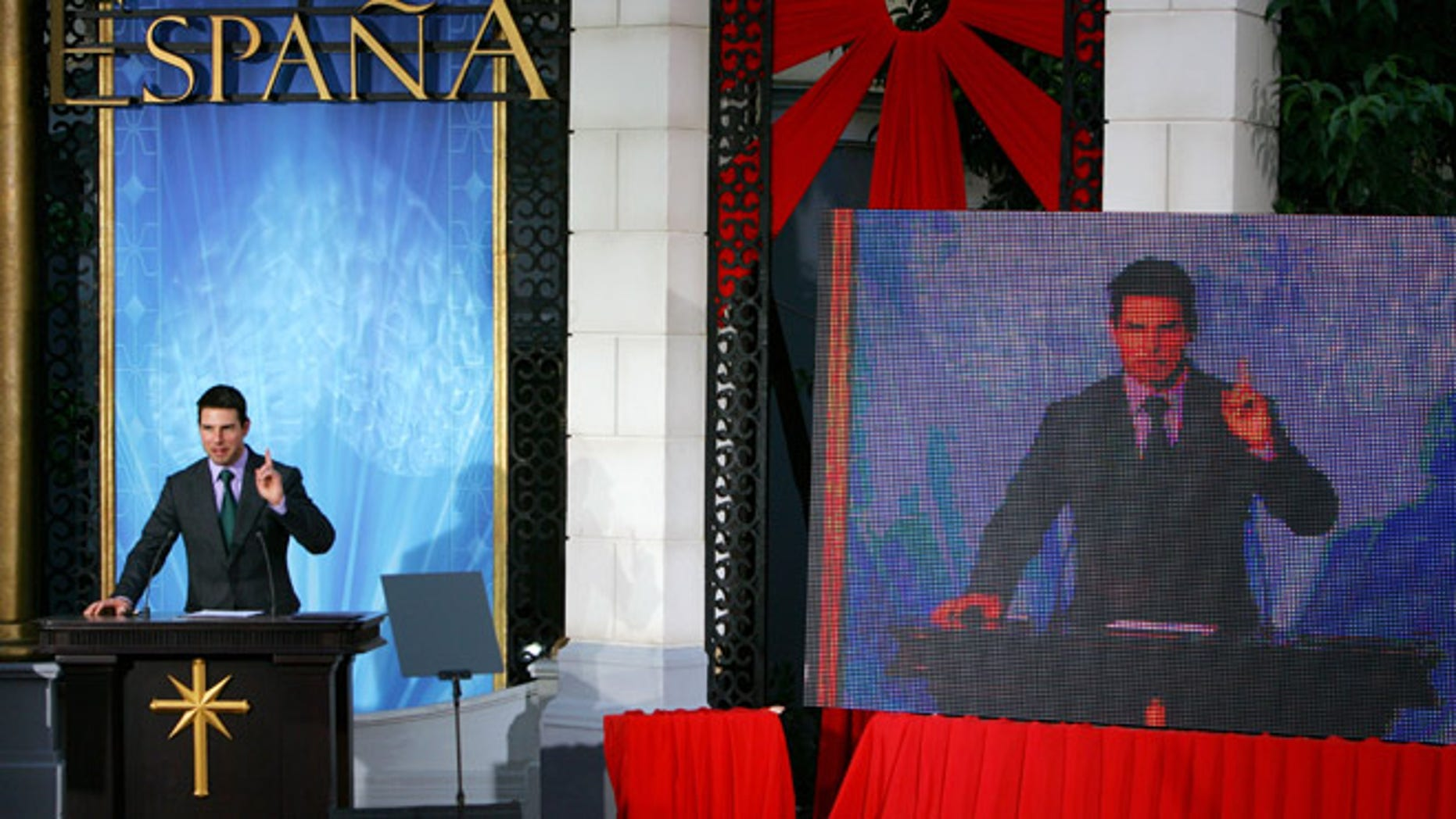 Tom Cruise gives a speech at the opening of a Scientology church in Spain in 2004.