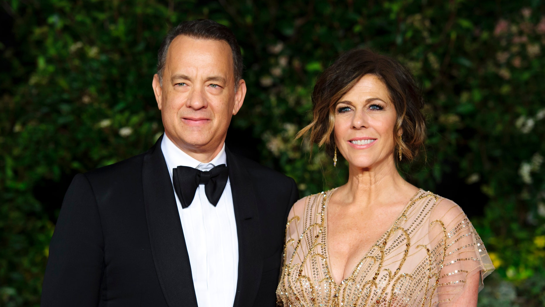 Feb. 16, 2014. Tom Hanks and Rita Wilson arrive for the British Academy Film Awards 2014 After Party at the Grosvenor Hotel, in central London.