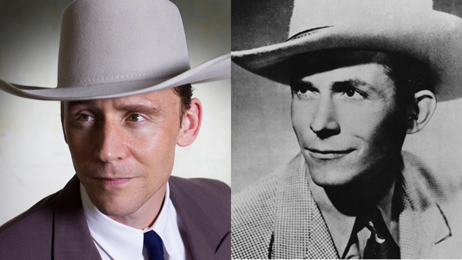 Tom Hiddleston (left) as country legend Hank Williams (right).