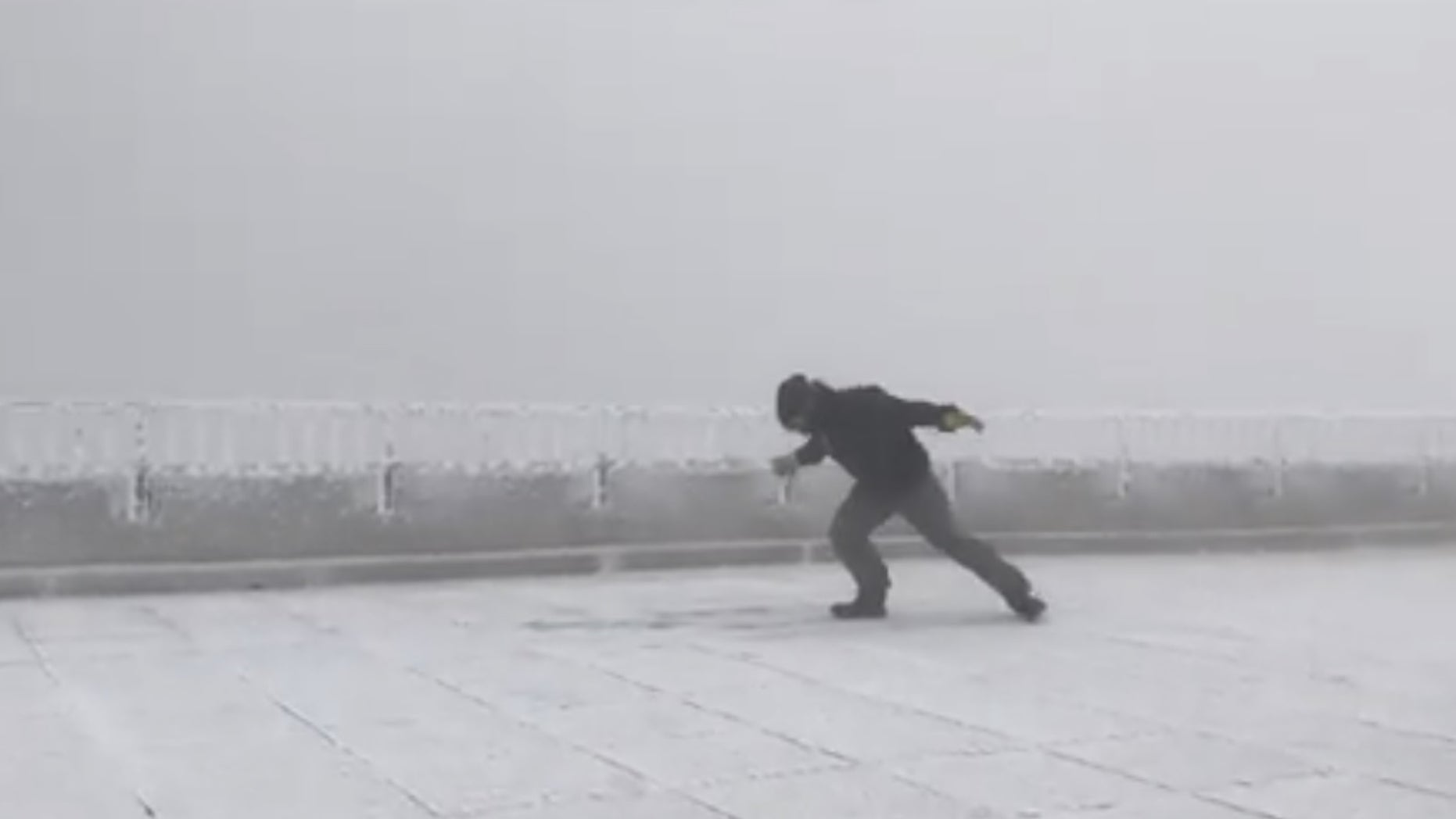 Tom Padham, a weather observer at the Mount Washington Observatory in New Hampshire, stepped out into wind gusts of more than 100 mph Friday.