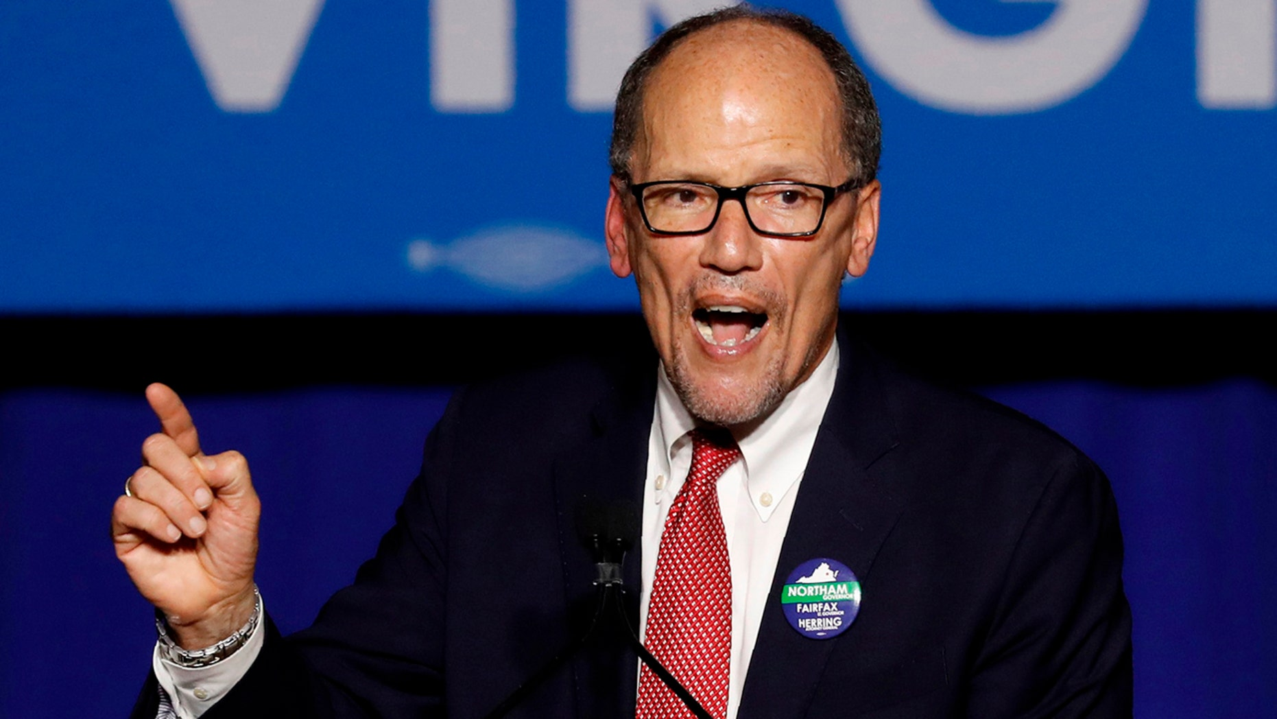 Democratic National Committee Chairman Tom Perez speaks at Ralph Northam's election night rally on the campus of George Mason University in Fairfax, Virginia, November 7, 2017.