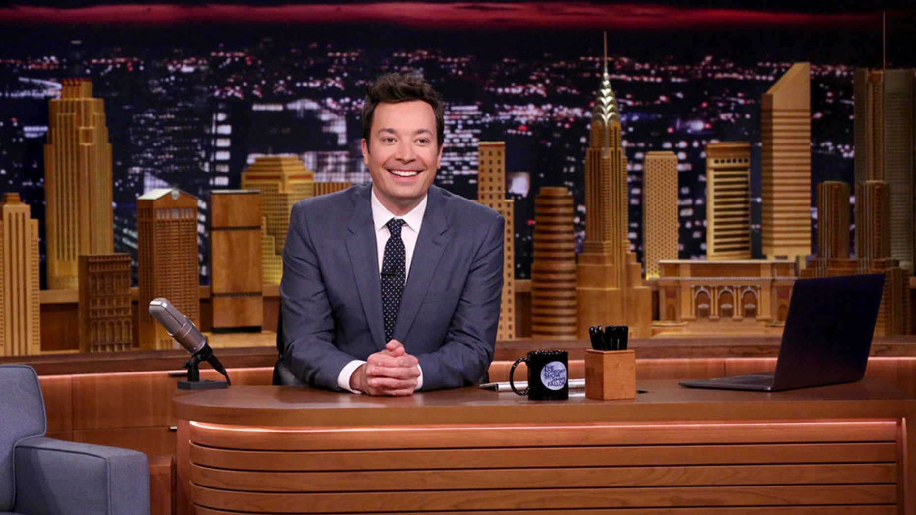 Jimmy Fallon on the set of 'The Tonight Show' in March 2017.