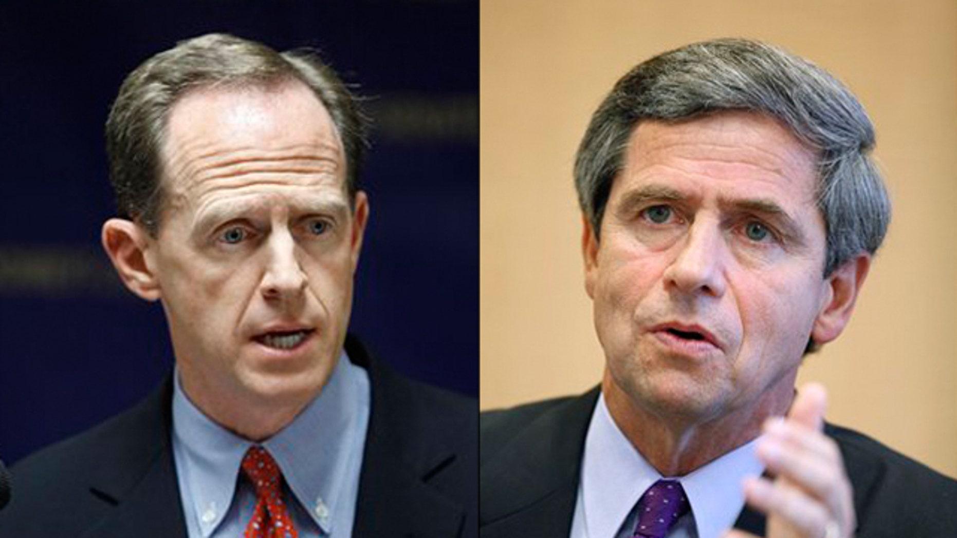 Shown here are Pennsylvania Senate candidates Pat Toomey, left, and Rep. Joe Sestak. (AP Photos)