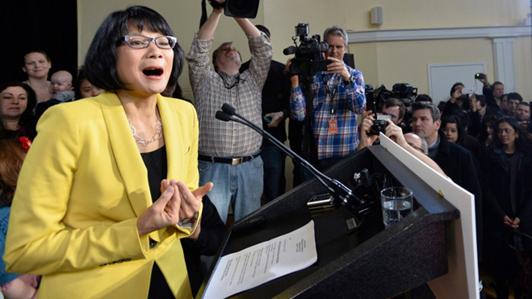 Mar. 13, 2014: Olivia Chow speaks to the media after she officially entered into the race as a candidate for Mayor in the fall Toronto mayoral election in Toronto.