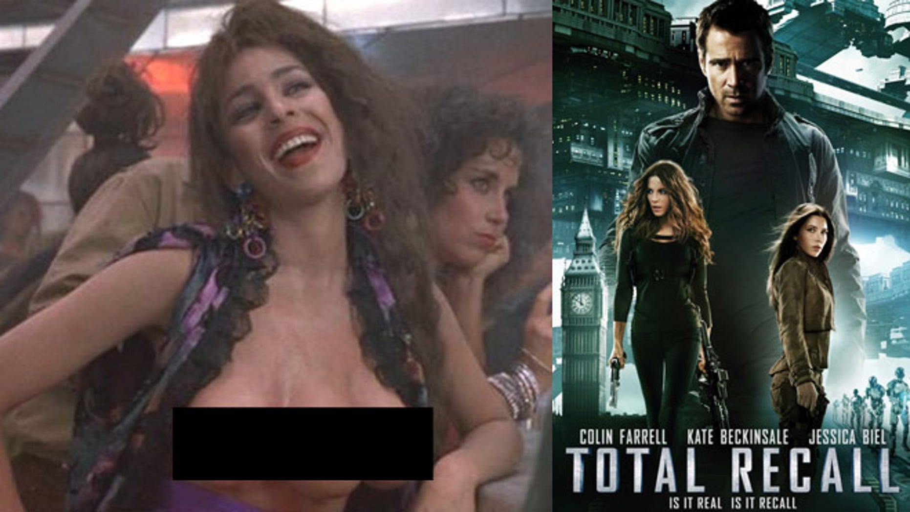 The three-breasted prostitute from the original movie (left) is also featured in the new 'Total Recall' (right)