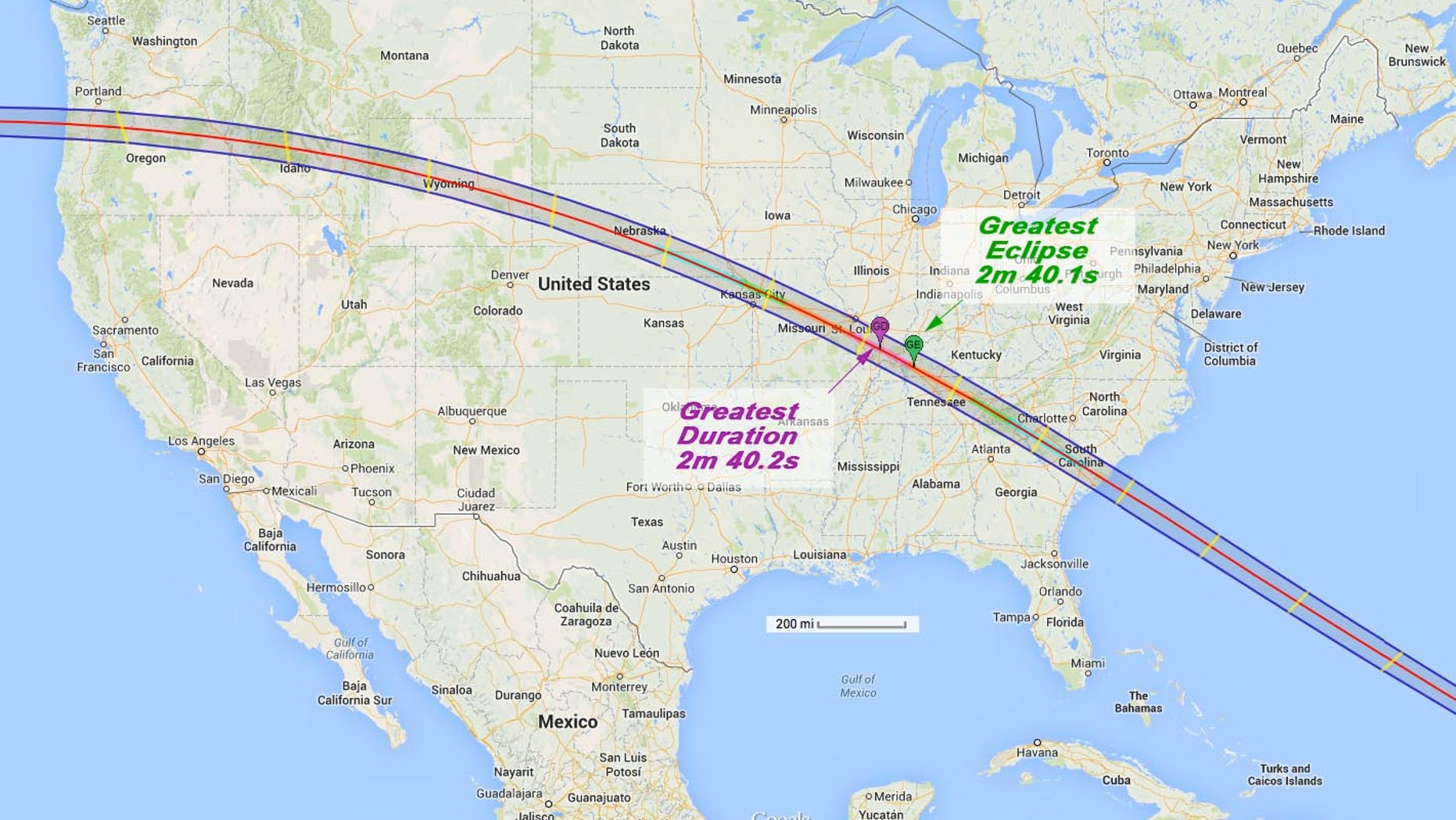 Path of the total solar eclipse of Aug. 21, 2017.