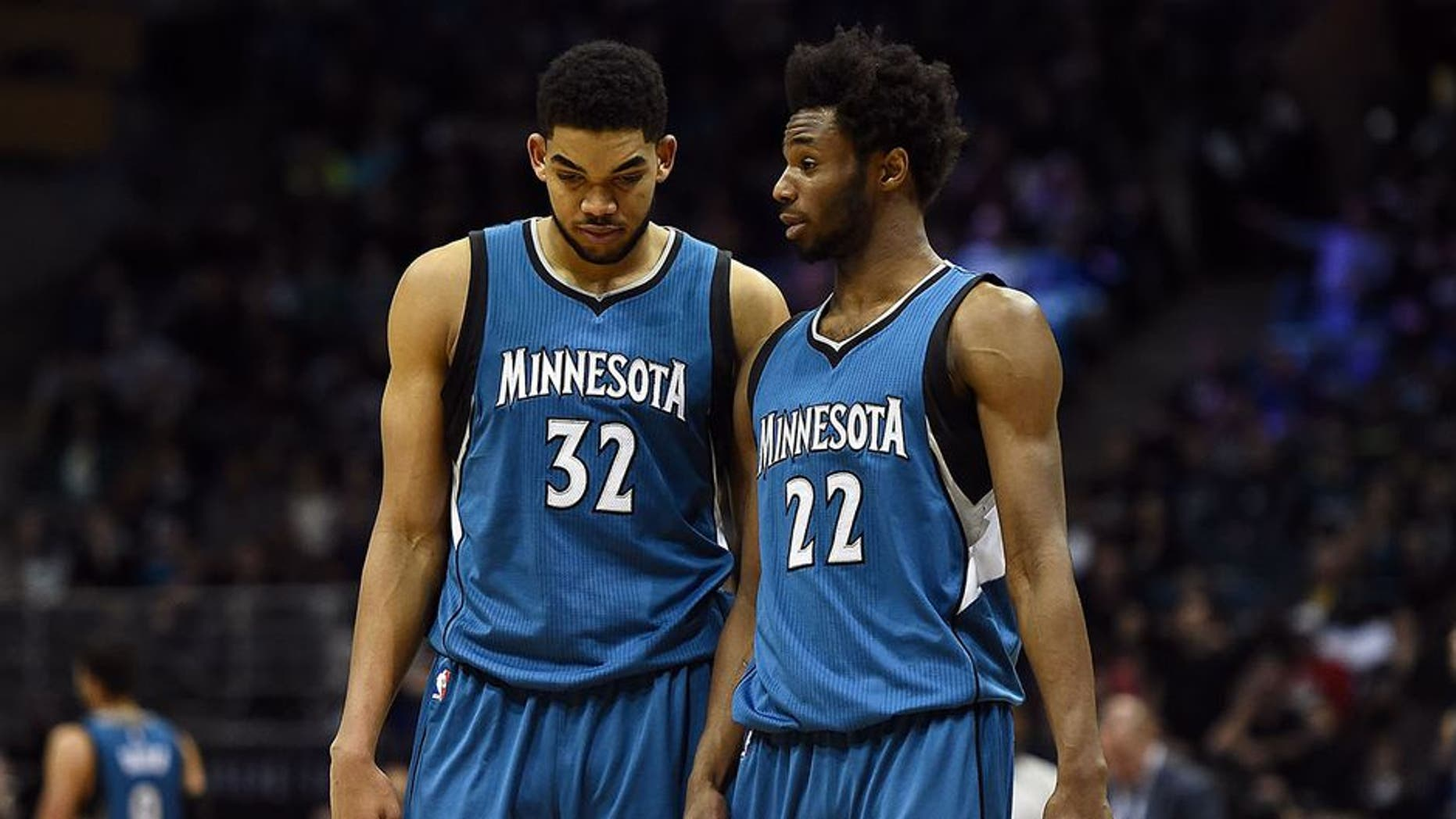 MILWAUKEE, WI - MARCH 11: Karl-Anthony Towns #32 and Andrew Wiggins #22 of the Minnesota Timberwolves walks backcourt during a game against the Milwaukee Bucks at the BMO Harris Bradley Center on March 11, 2017 in Milwaukee, Wisconsin. NOTE TO USER: User expressly acknowledges and agrees that, by downloading and or using this photograph, User is consenting to the terms and conditions of the Getty Images License Agreement. (Photo by Stacy Revere/Getty Images)