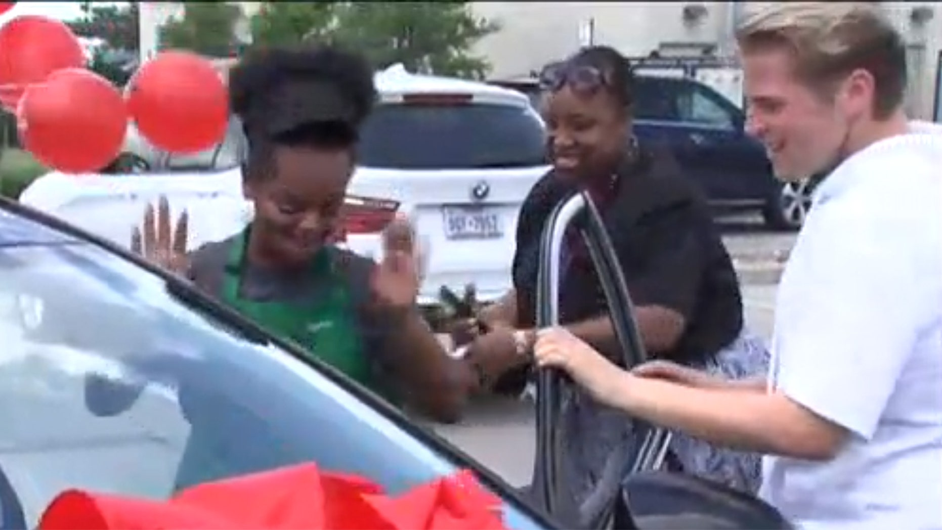 """Sionna Brenn has maintained above-average grades while facing homelessness, and received a car from Charlie Jabaley who is on his """"Dream Machine Tour."""""""