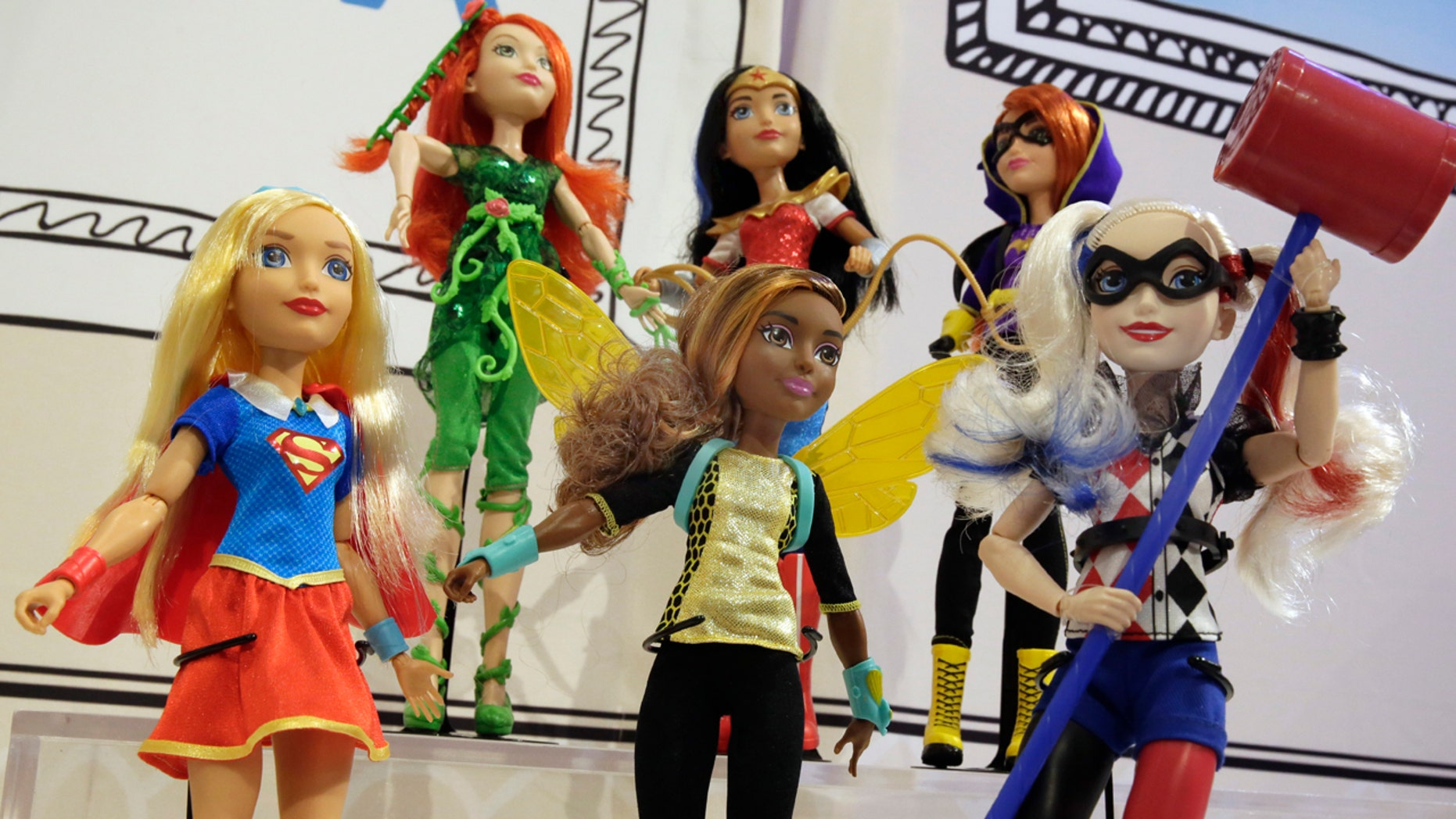 This Thursday, Oct. 6, 2016, photo shows Mattel DC Super Hero Girls on display at the annual TTPM Holiday Showcase, in New York.