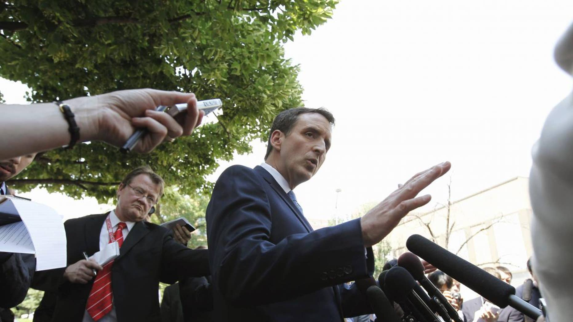 Republican presidential hopeful, former Minnesota Gov. Tim Pawlenty speaks to the media in front of the Cato Institute in Washington, Wednesday, May 25, 2011. (AP Photo/Alex Brandon)