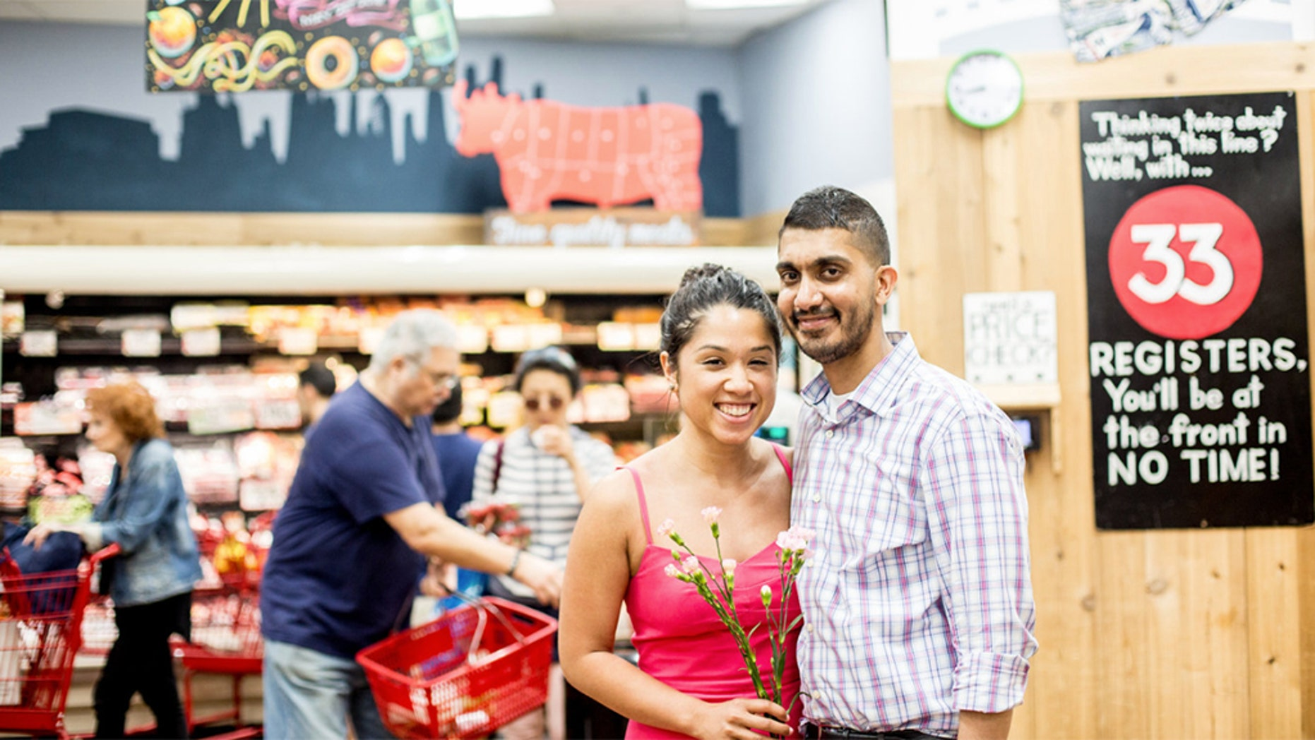 The lovebirds got engaged at their favorite Trader Joe's in New York City.