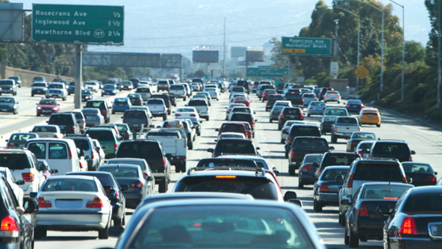 Traffic on LA's 405 freeway