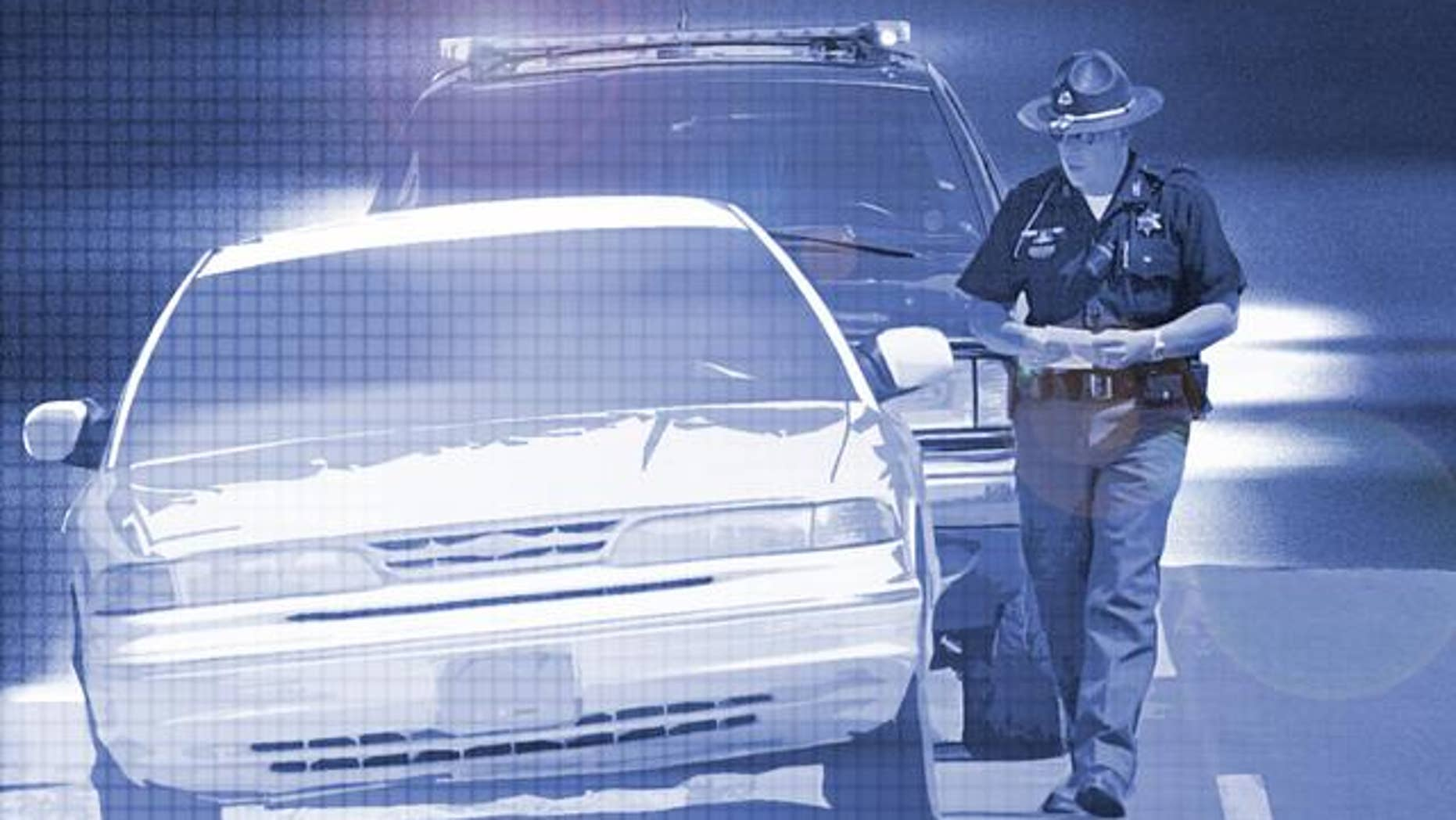 Partial graphic of a police officer stopping driver for speeding. (AP)