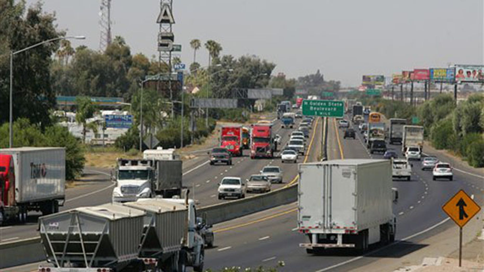 Aug. 23, 2011: A stretch of the California State Route 99 corridor in the San Joaquin Valley is shown busy with traffic in Fresno, Calif.
