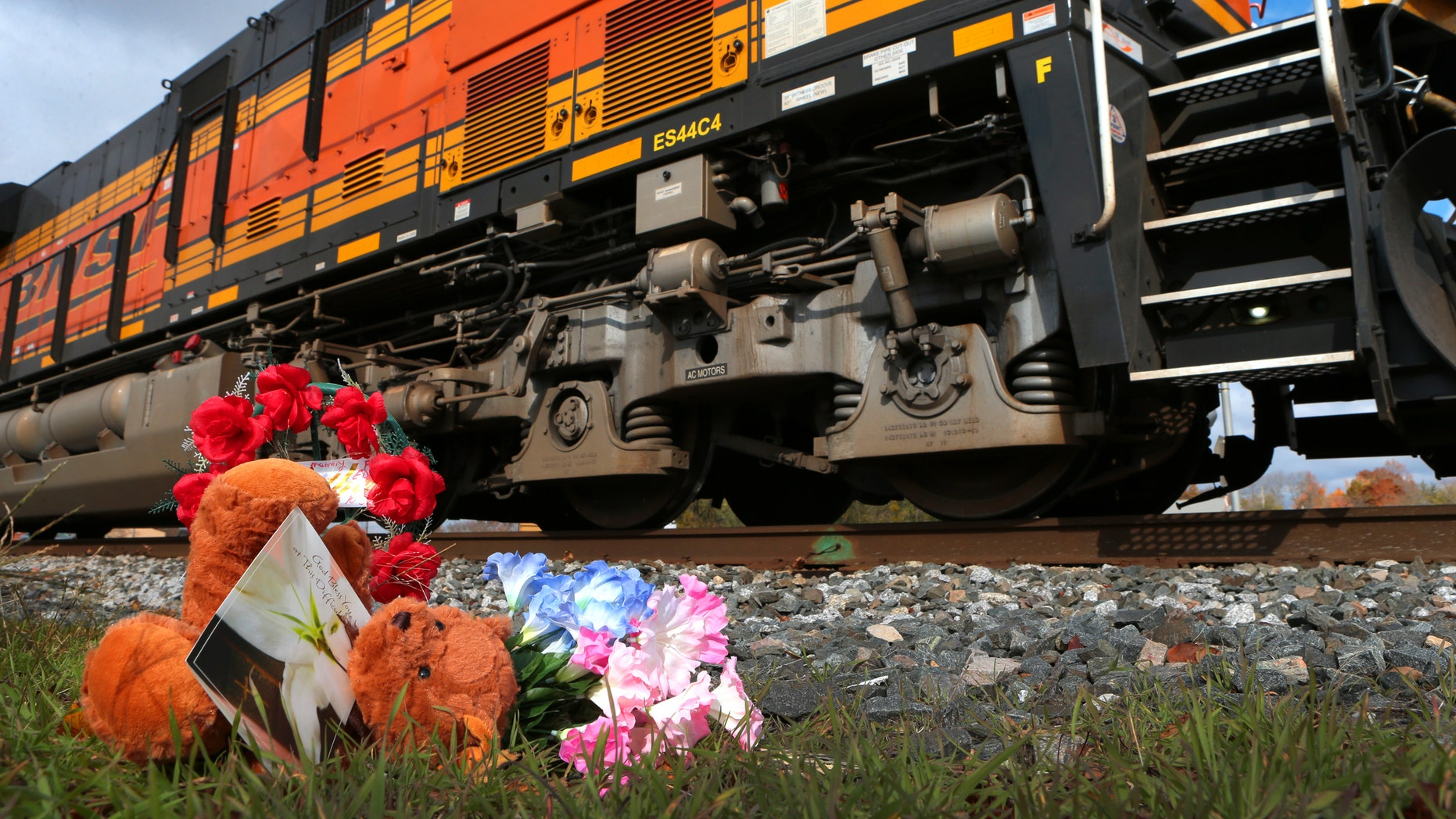 Oct. 31, 2014: A tiny memorial sits beside the railroad tracks in downtown Vandalia.