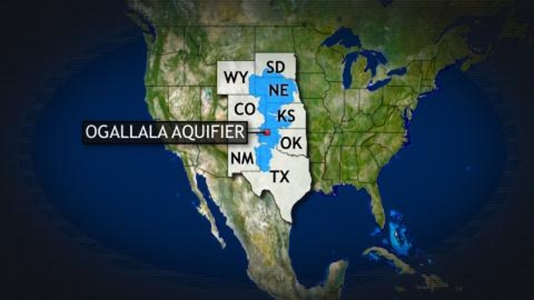 Map of Ogallala Aquifer, which is at the heart of the controversy against the TransCanada pipeline.