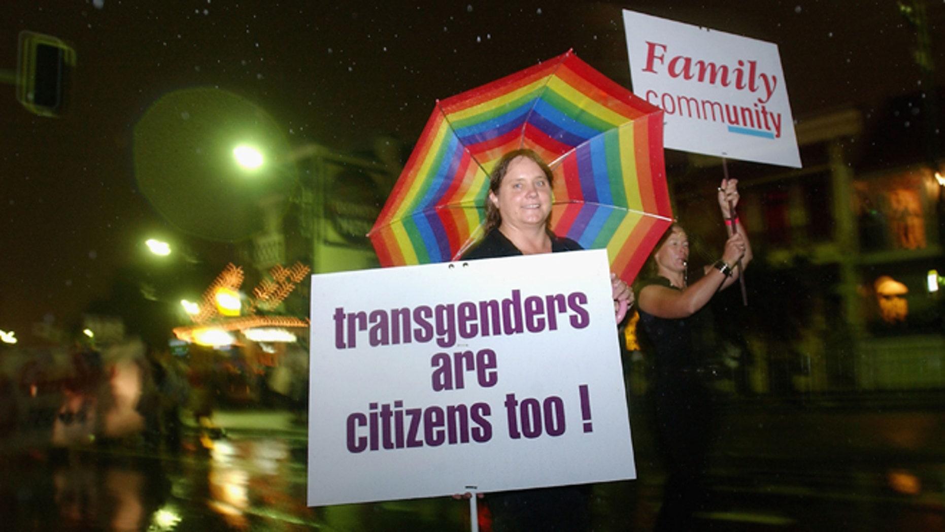 SYDNEY, AUSTRALIA - MARCH 6:  Participants march for the rights of Transgenders during the Sydney Gay and Lesbian Mardi Gras in Sydney on March 6, 2004  Sydney, Australia. (Photo by Jon Buckle/Getty Images)