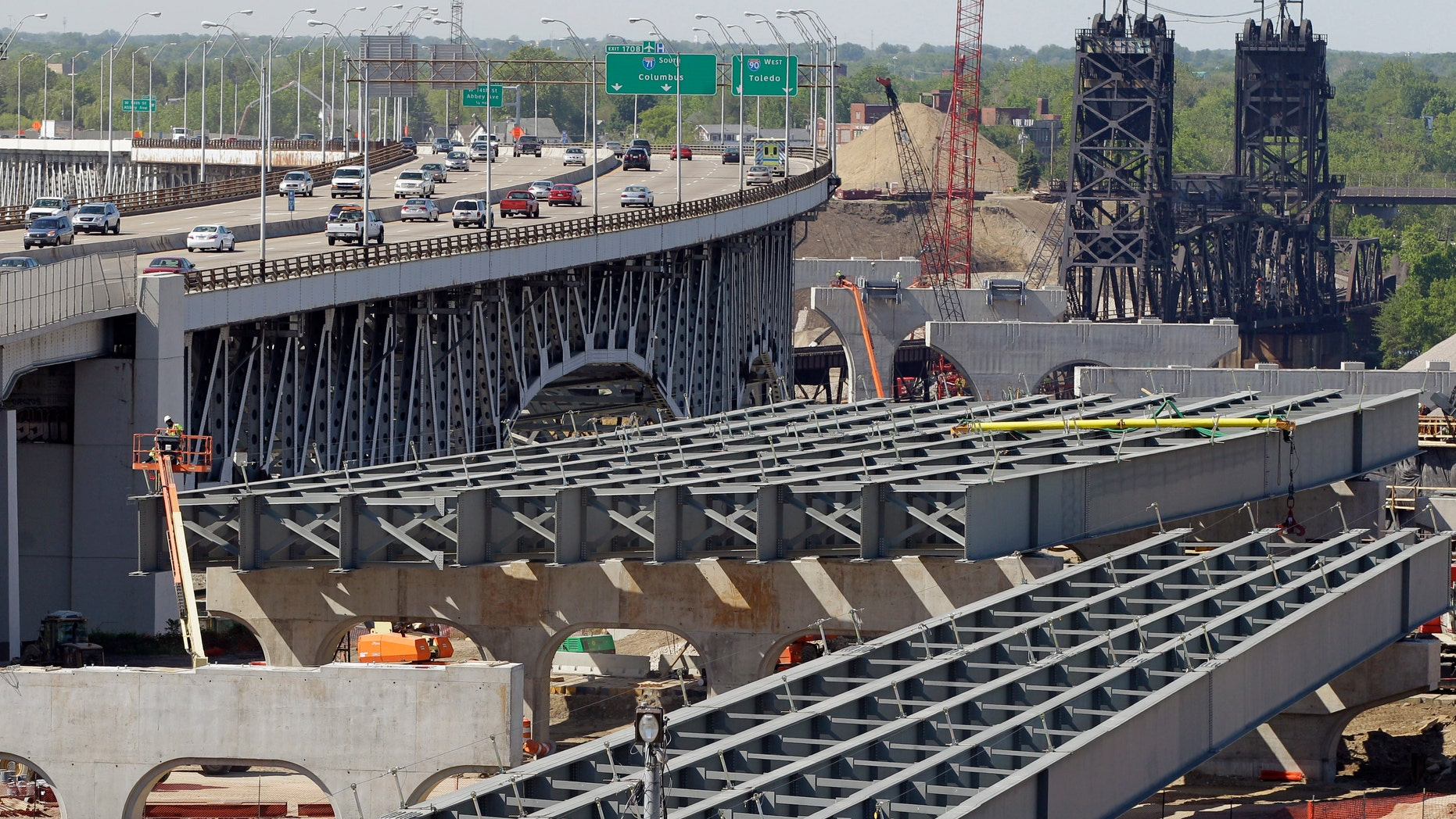 May 17, 2012: The steel skeleton for the eastern end of the new Innerbelt Bridge in Cleveland sits next to the existing span.