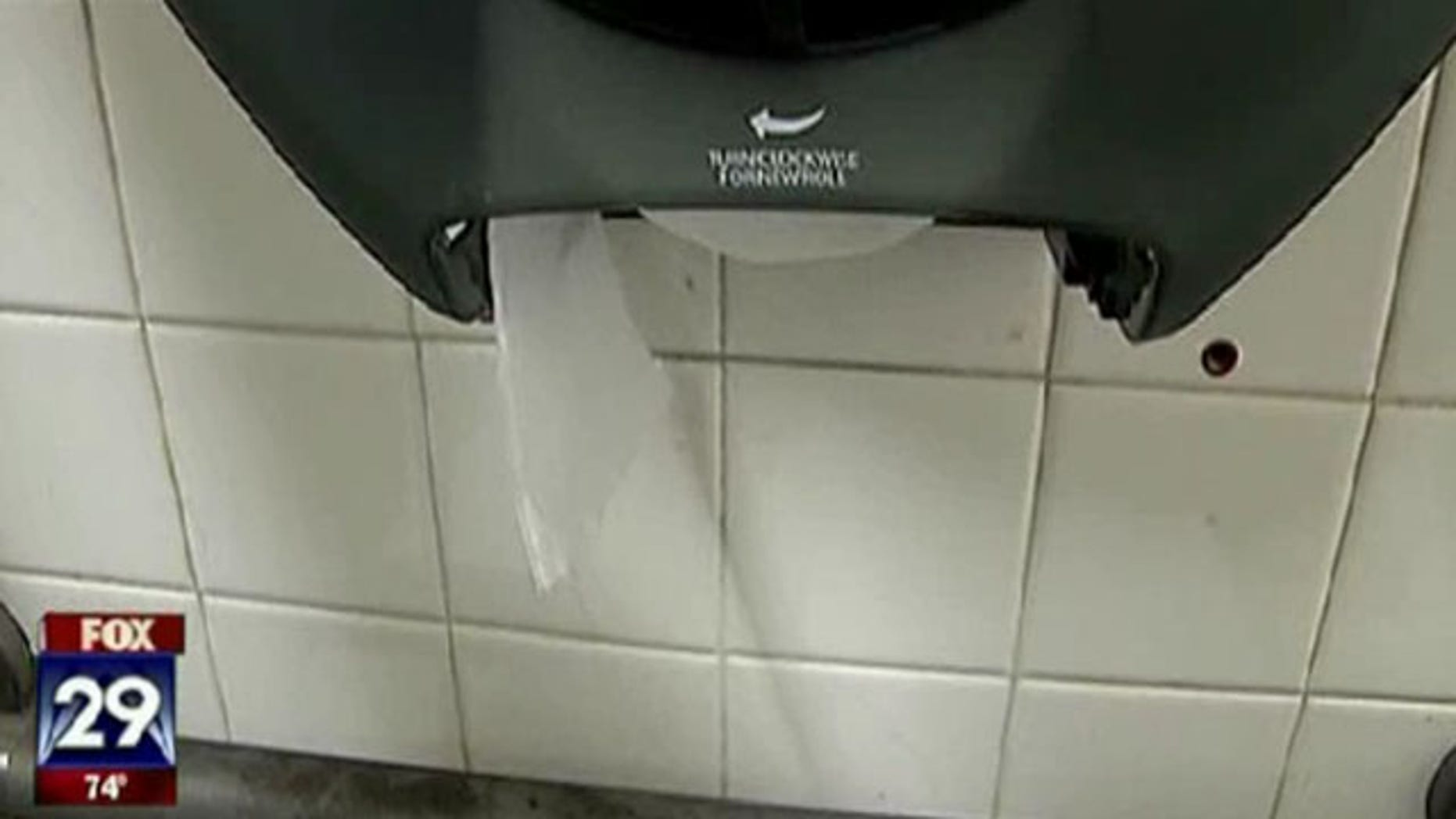 Shown here is a Trenton city bathroom stall.