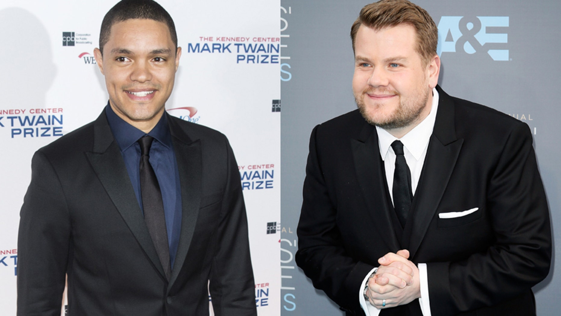 Trevor Noah, left, and James Corden have both had time to settle into their new late-night roles.