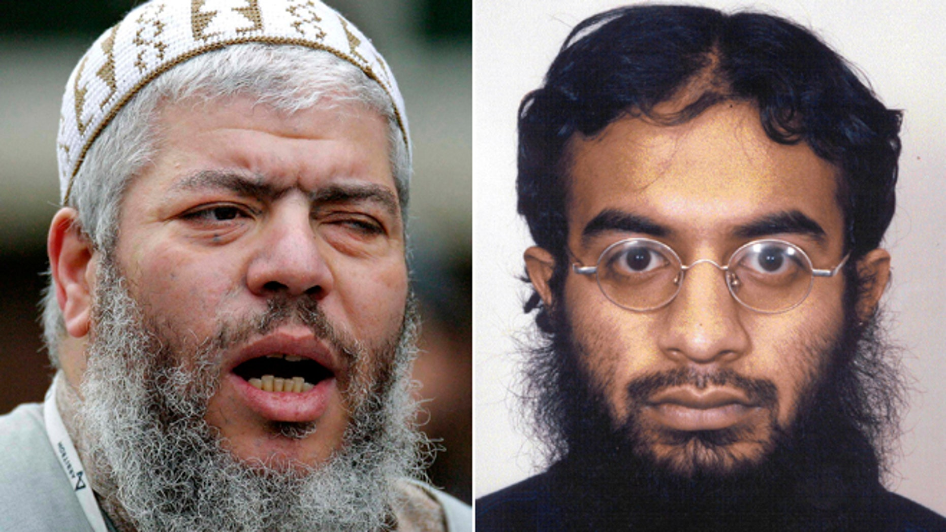 This split photo shows Muslim cleric Abu Hamza al-Masri, left, and Saajid Badat, right.