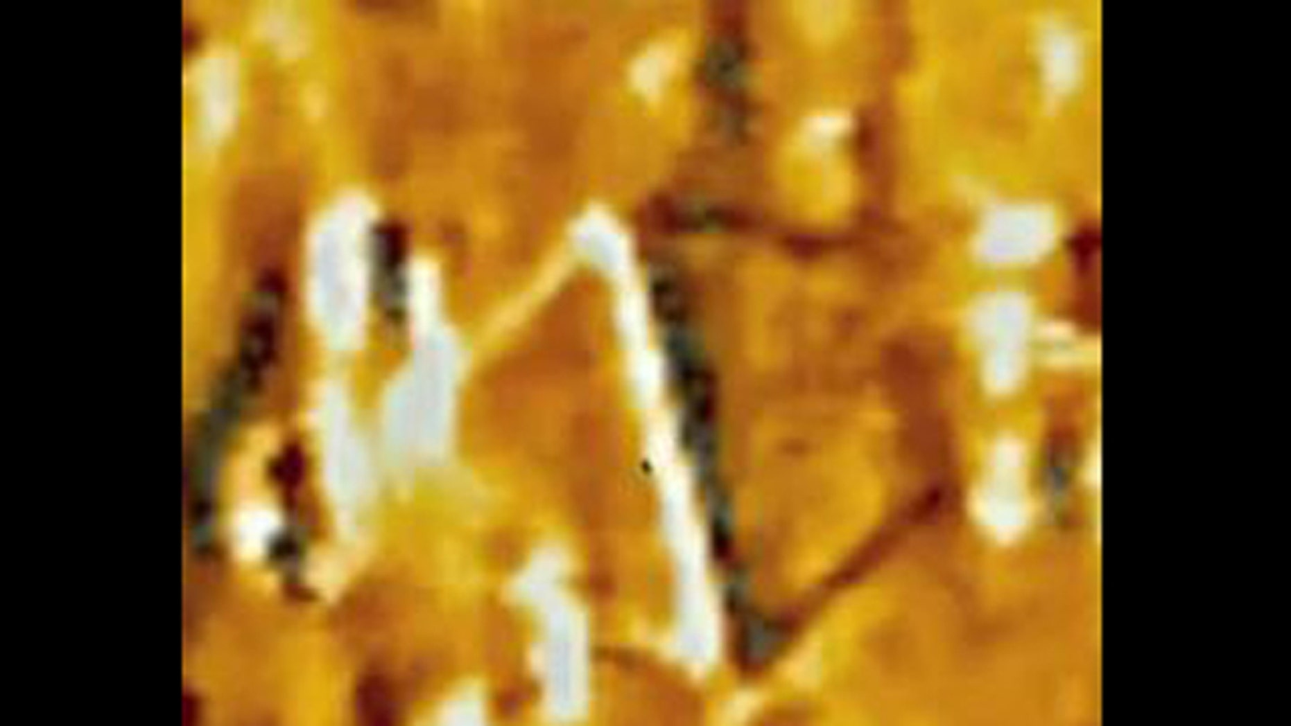 "The triangular ""UFO"" as seen in footage captured by a telescopic camera on the STEREO-B spacecraft."