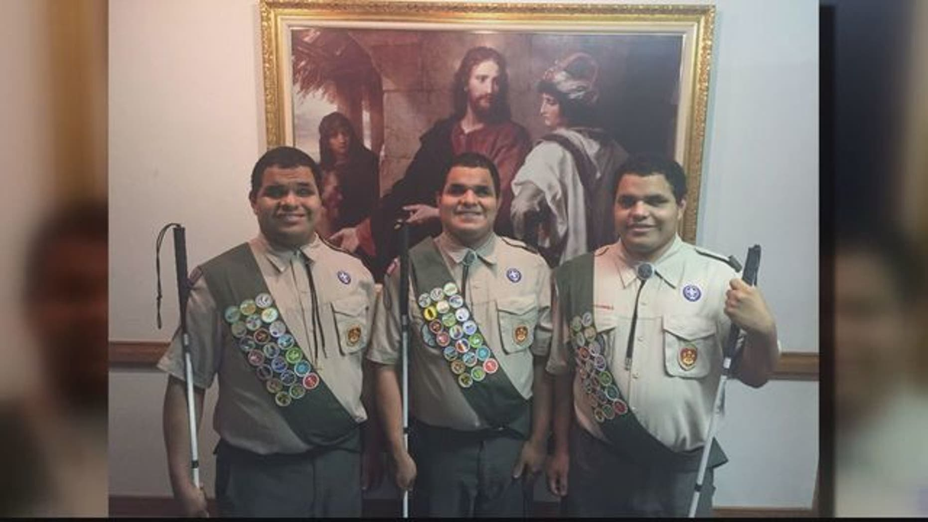 Leo, Nick and Steven Cantos Alexandria, Virginia are three triplets who are blind have been named Eagle Scouts —  the first time in the 107-year history of the Boy Scouts.