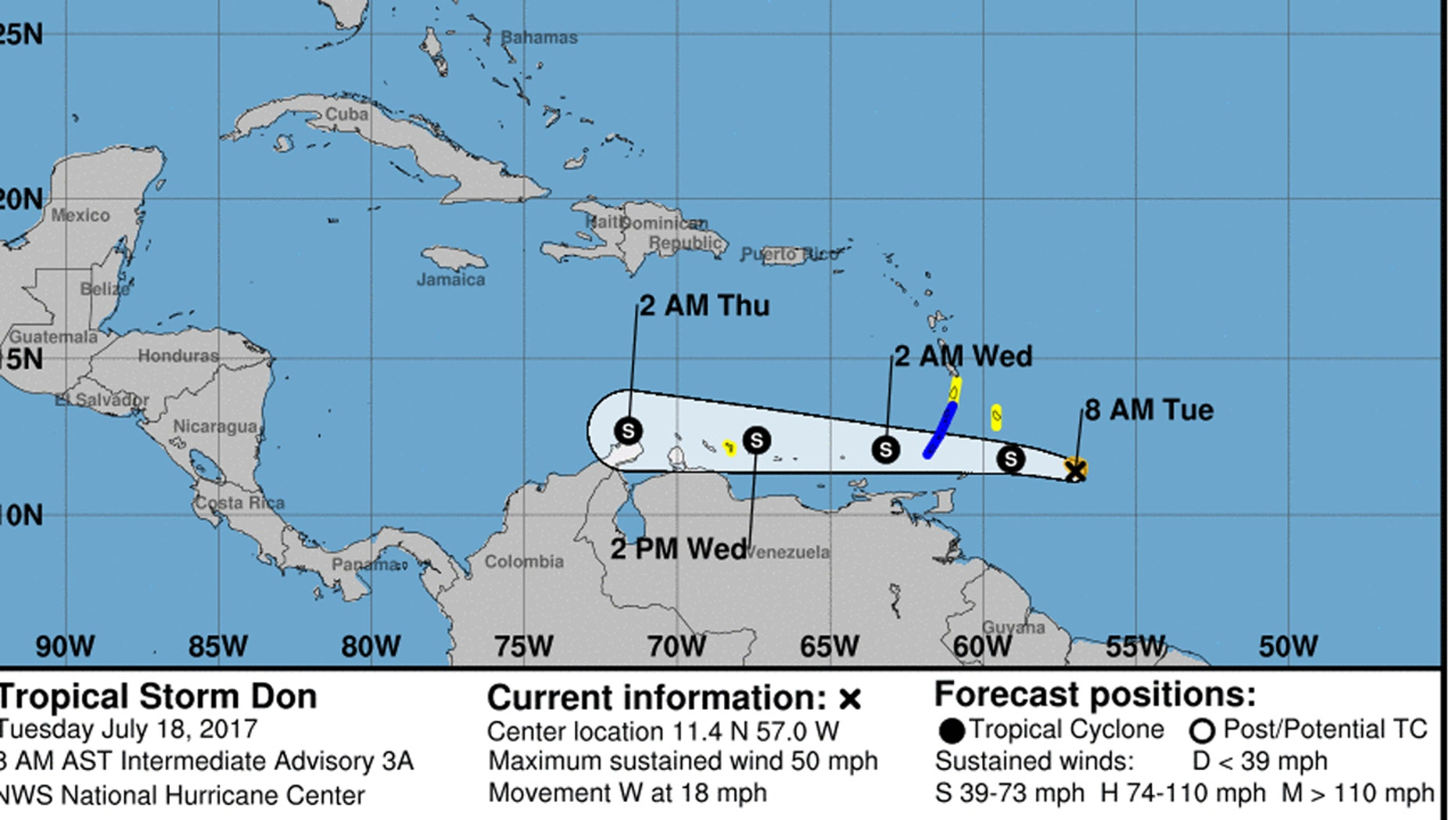 An image from the National Hurricane Center showing the projected path of Tropical Storm Don.