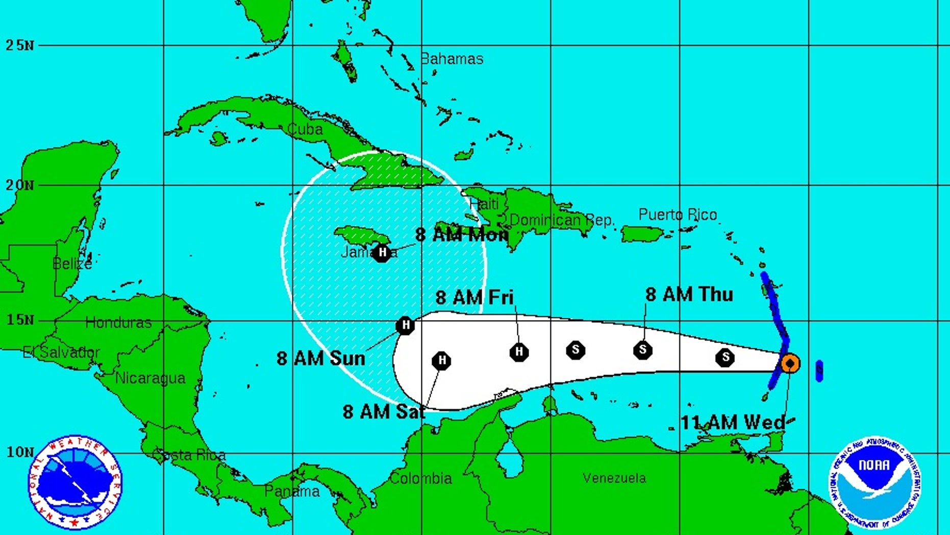 Forecast track for Tropical Storm Matthew.