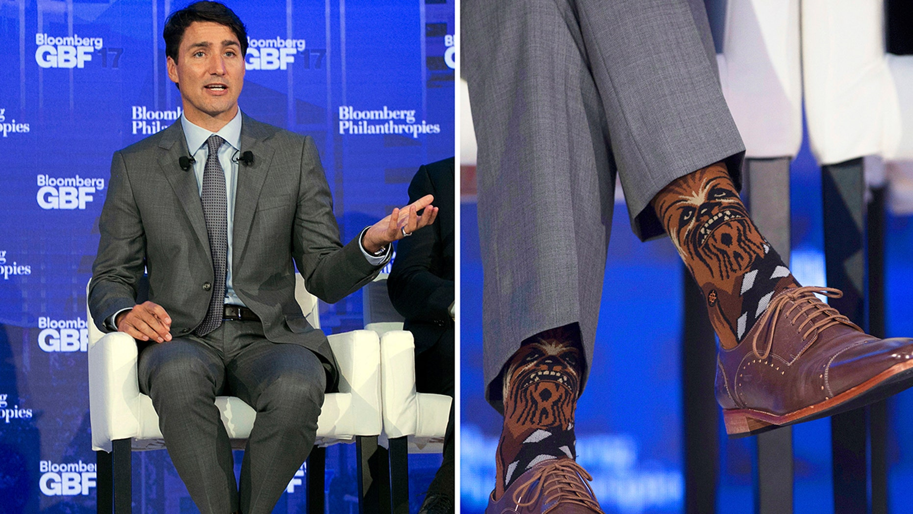 """In this combination photo, Canadian Prime Minister Justin Trudeau wears socks featuring the """"Star Wars"""" character Chewbacca during a panel discussion at the Bloomberg Global Business Forum, Wednesday, Sept. 20, 2017, in New York. (AP Photo/Mark Lennihan, left, and Adrian Wyld/The Canadian Press via AP)"""