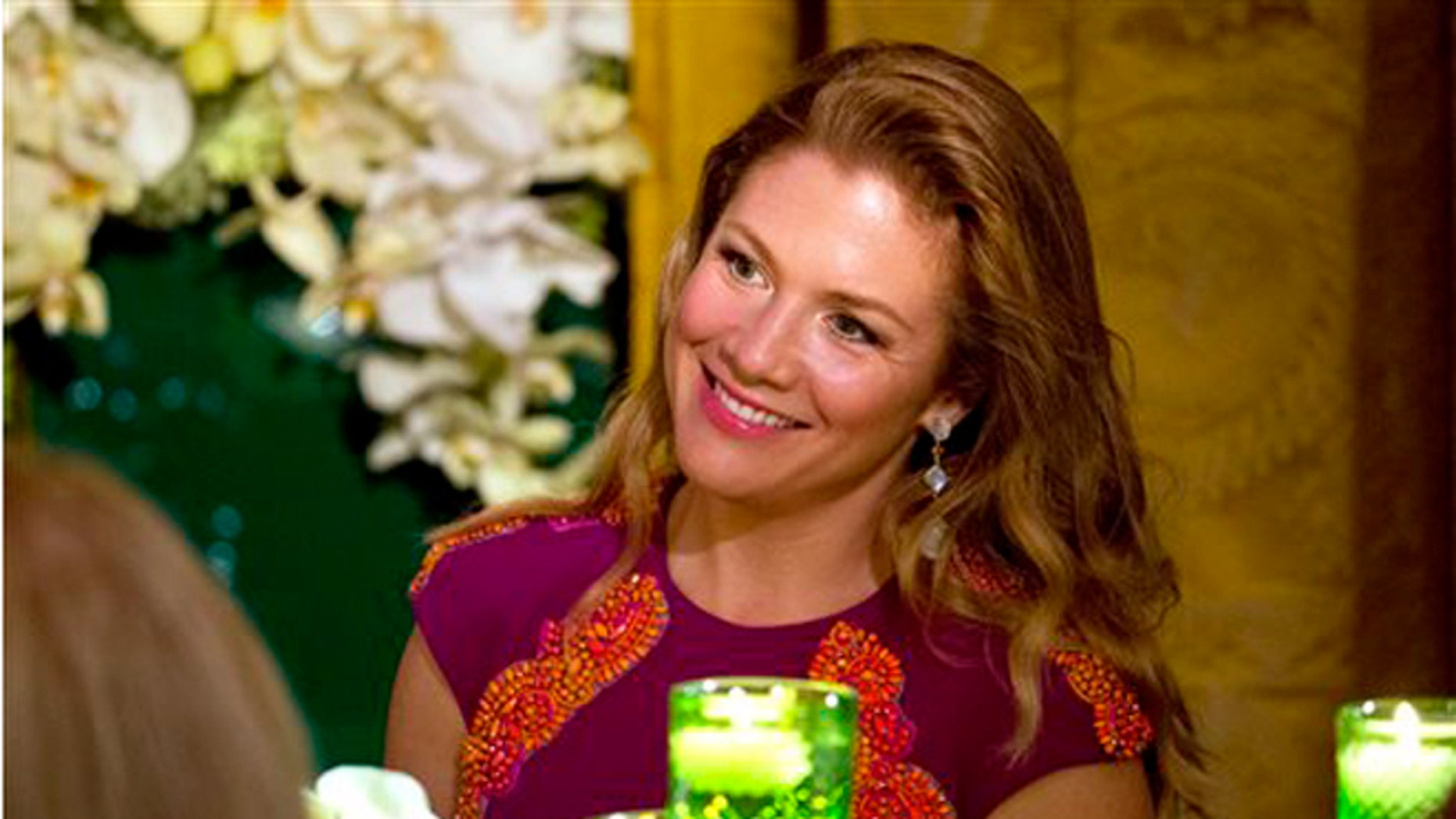 In this March 10, 2016, file photo, Sophie Gregoire Trudeau listens to President Barack Obama toast her husband, Canadian Prime Minister Justin Trudeau, during a State Dinner in the East Room of the White House in Washington.