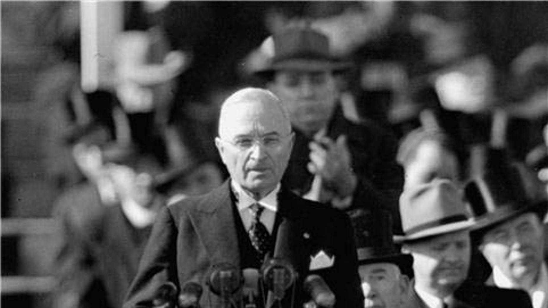 President Truman delivers his inaugual address in 1949 (AP Photo)