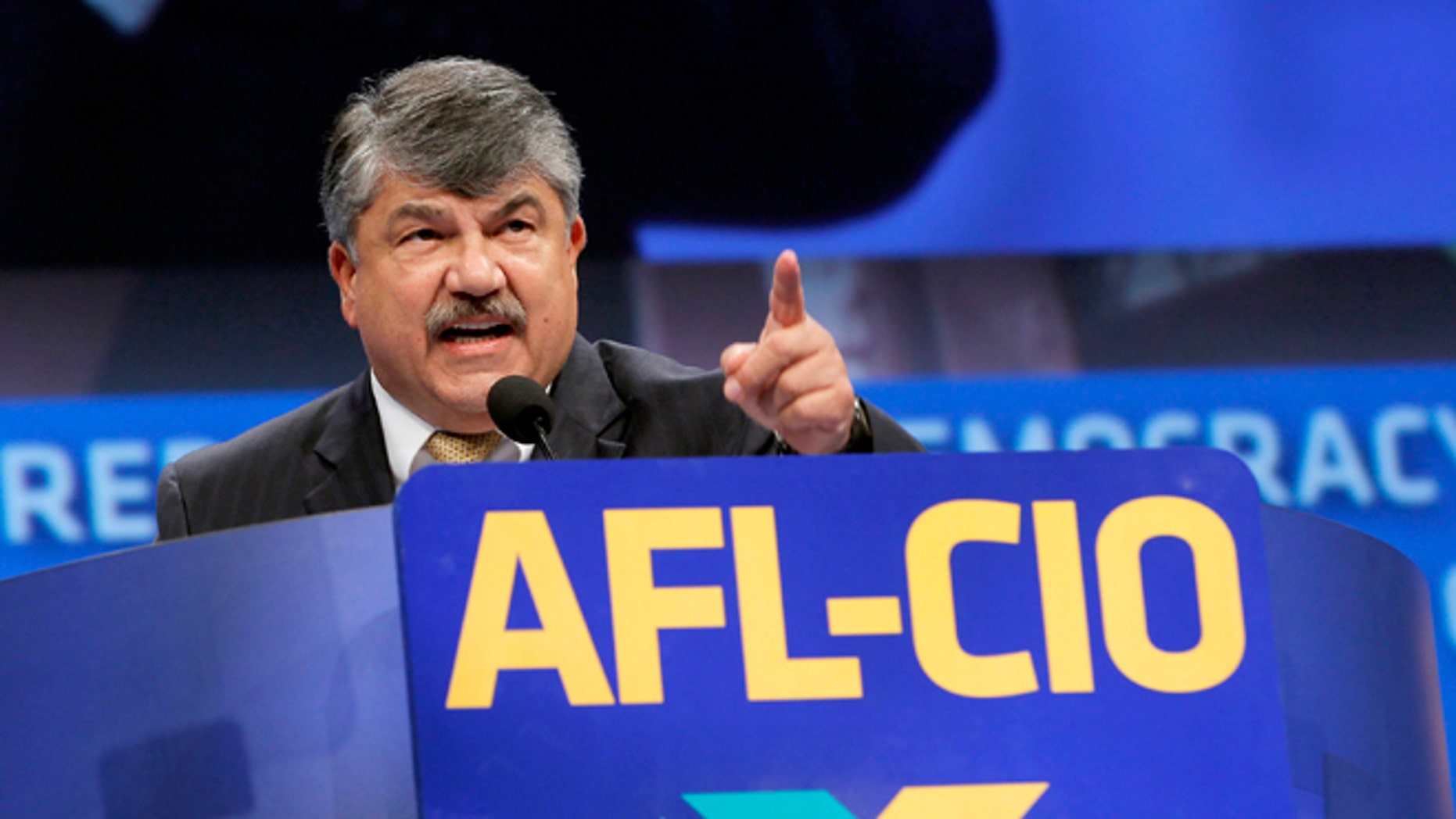 Sept. 9, 2013: Richard Trumka, American Federation of Labor and Congress of Industrial Organizations president, addresses members during the quadrennial AFL-CIO convention at Los Angeles Convention Center.