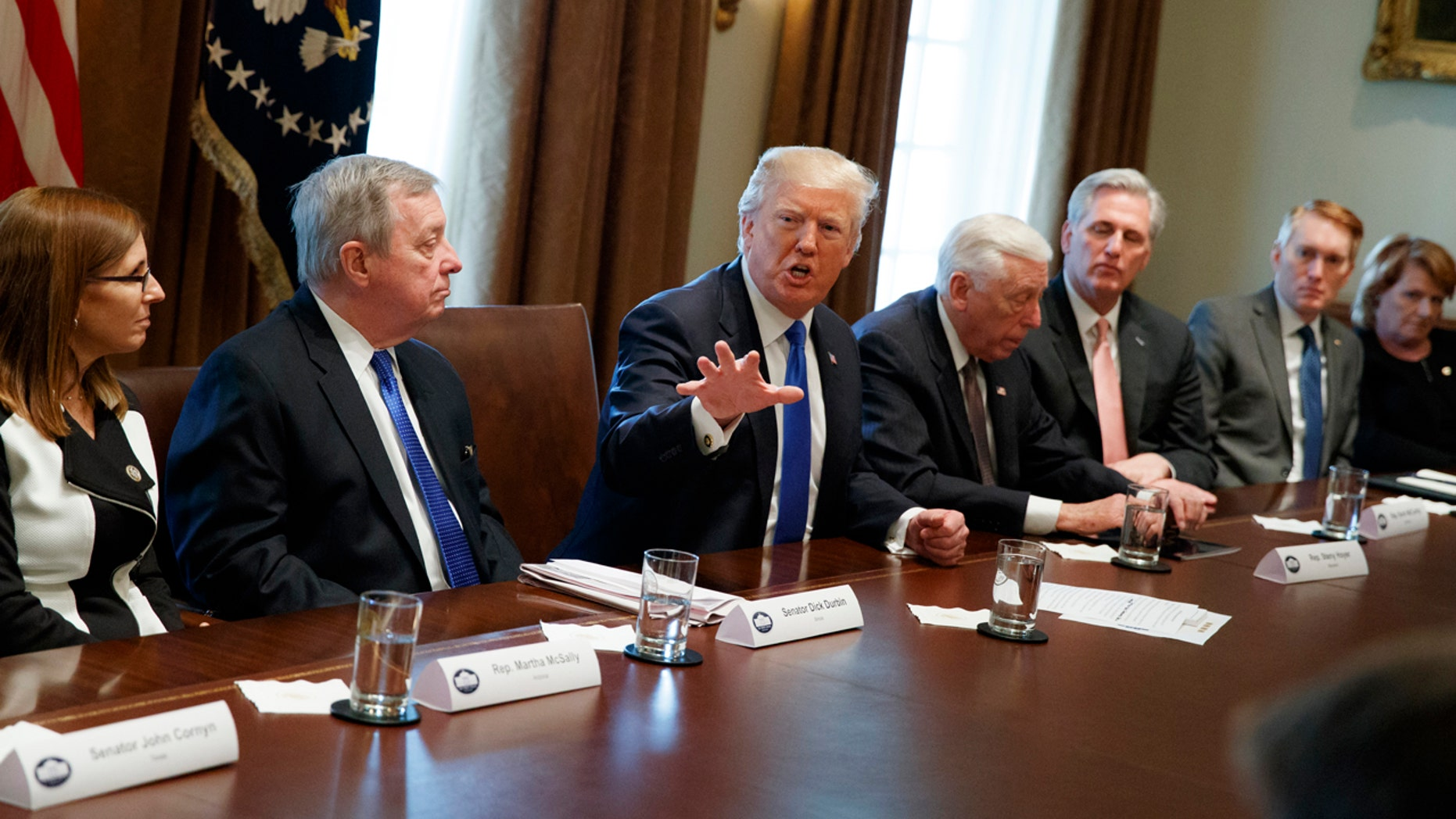 January 9, 2018: President Donald Trump speaks during a meeting with lawmakers on immigration policy in the Cabinet Room of the White House.