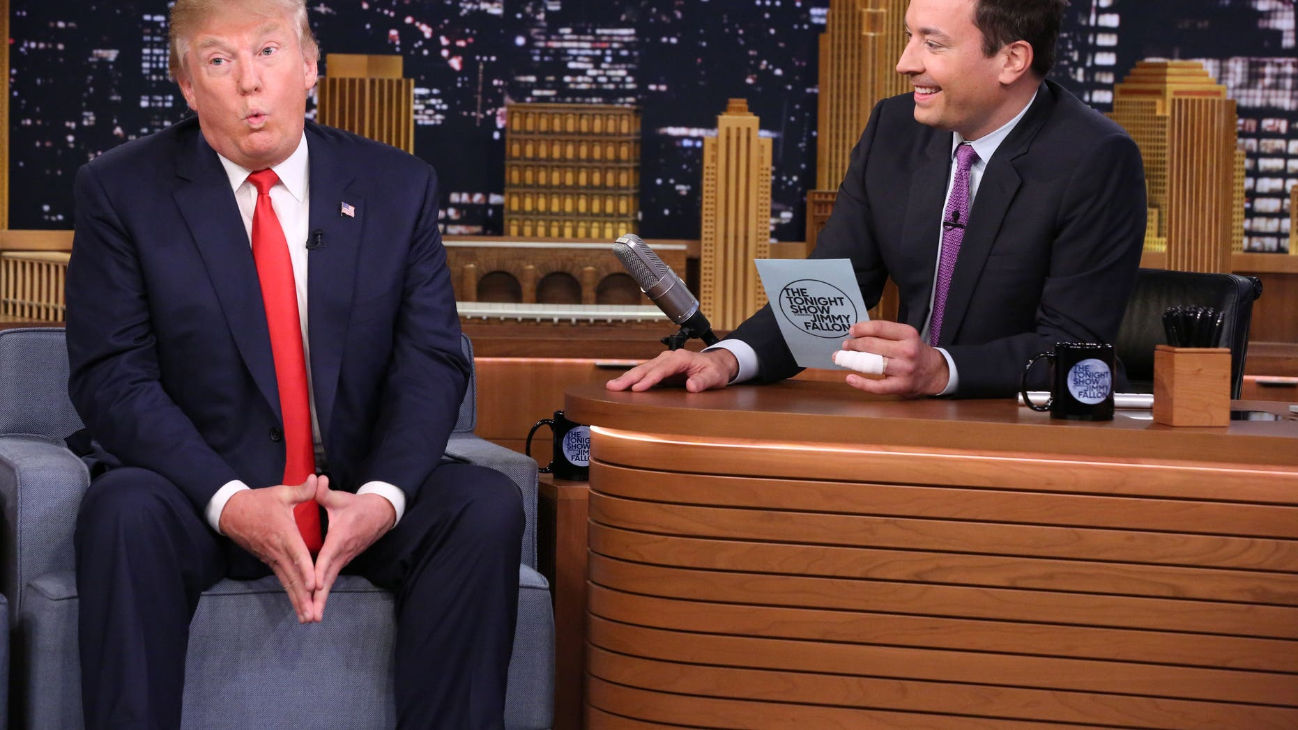 "September 11, 2015. Donald Trump, left, appears with host Jimmy Fallon during a taping of ""The Tonight Show Starring Jimmy Fallon"" in New York."