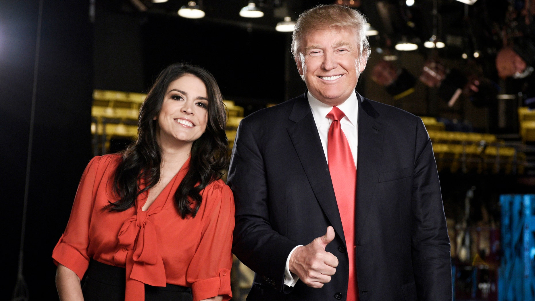 """Saturday Night Live"" cast member Cecily Strong, left, and Republican presidential candidate Donald Trump in New York. Trump will host the show on Nov. 7."