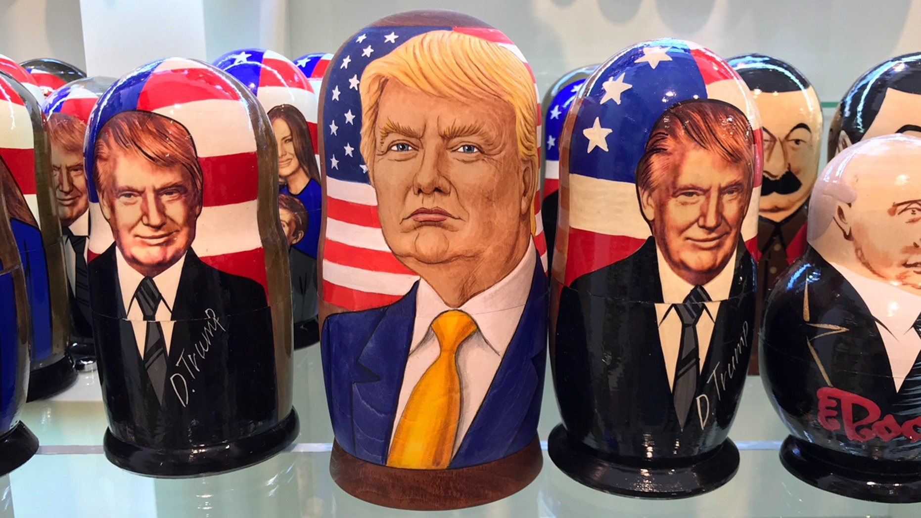 Trump nesting dolls are popular at souvenir shops in Russia.