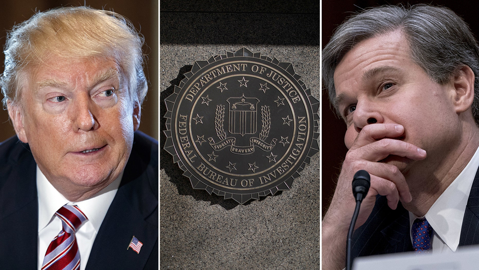 President Donald Trump and other Republicans have been sharply critical of the FBI in recent months. The agency is led by Director Christopher Wray, right, whom Trump appointed to succeed the fired James Comey.