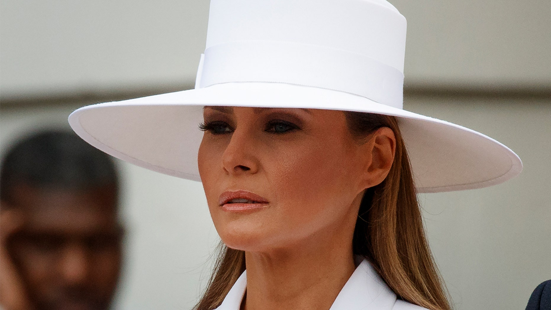 First lady Melania Trump's hat drew all the attention Tuesday during the President's first official state visit with France.