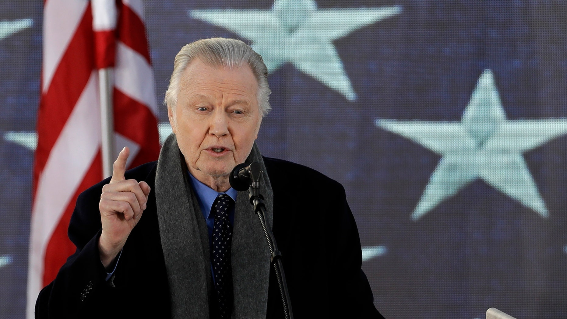 """Actor Jon Voight speaks during a pre-Inaugural """"Make America Great Again! Welcome Celebration"""" at the Lincoln Memorial in Washington, Thursday, Jan. 19, 2017."""