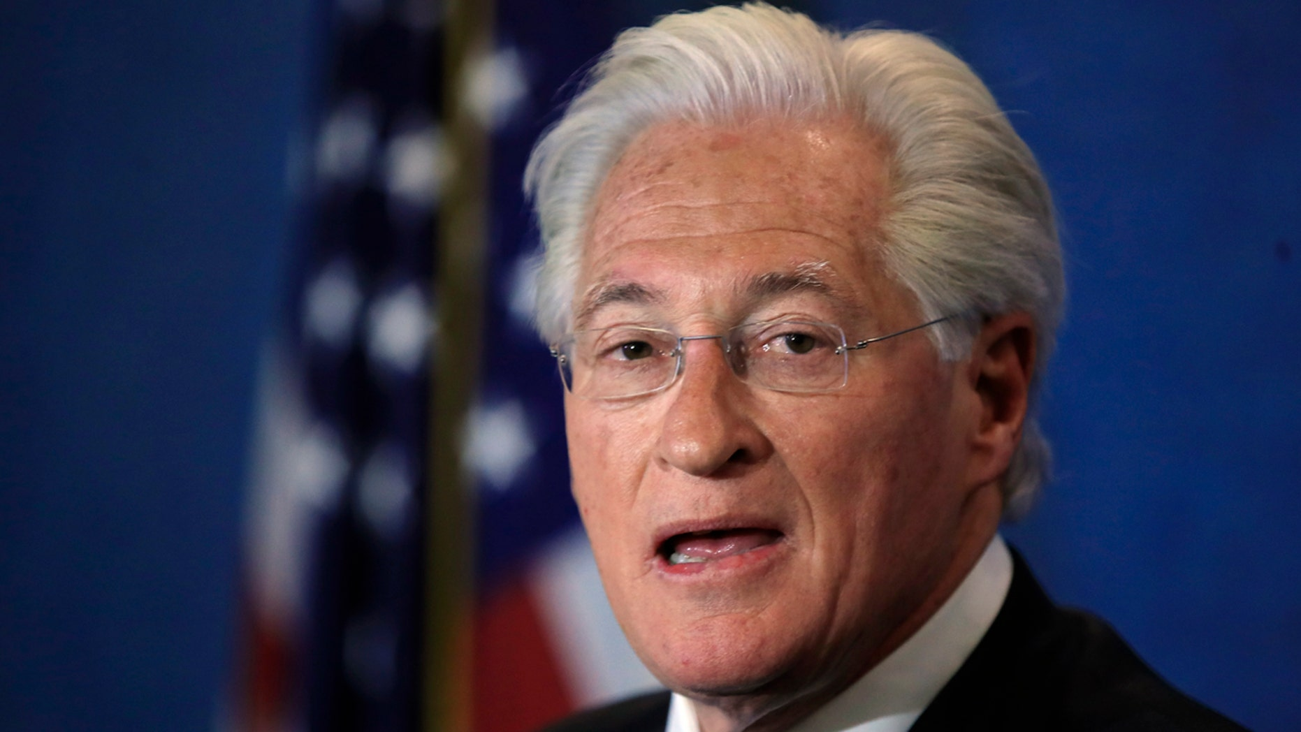In this June 8, 2017, file photo, Marc Kasowitz personal attorney of President Donald Trump makes a statement at the National Press Club, following the congressional testimony of former FBI Director James Comey in Washington.