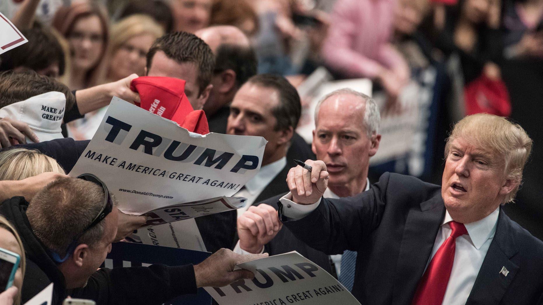 Trump at a campaign rally March 7, 2016 in Concord, North Carolina.