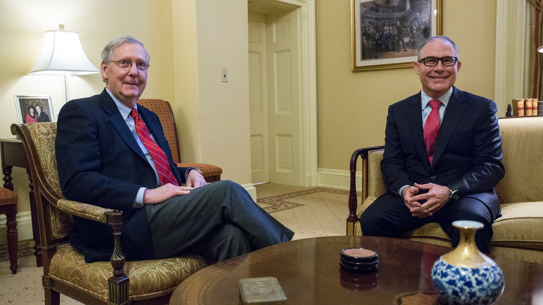 Jan. 6, 2017: Senate Majority Leader Mitch McConnell, R-Ky., left, meets with Environmental Protection Agency (EPA) Administrator-designate Scott Pruitt, right, on Capitol Hill in Washington.