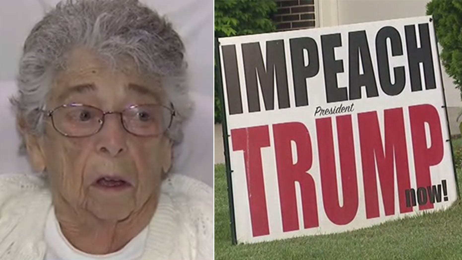 Myra Becker, a 94-year-old resident of Elgin, Ill., says the city has suddenly taken issue with a giant anti-Trump sign that she has had up on her front lawn since February.